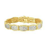 10k Gold Plated 1 1/2 Carat T.W. Diamond Bracelet