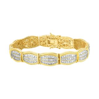 10k Gold Plated 1 1/2 Carat T.W. Diamond Bracelet