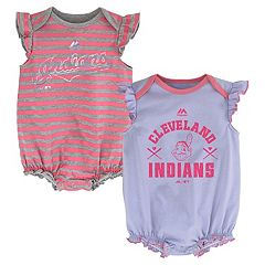 Baby Girl Majestic Cleveland Indians Sparkle 2-Pack Bodysuit Set