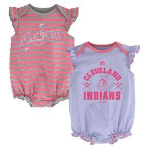 Baby Girl Majestic Cleveland Indians Sparkle 2-Pack Bodysuit Set