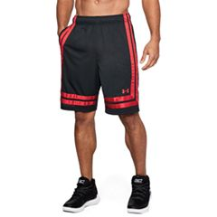 a0c31a571 Men's Under Armour Baseline Basketball Shorts. Black White Black Red ...
