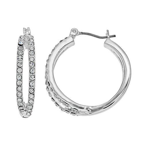 Napier Pave Split Hoop Earrings