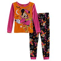Disney's Minnie Mouse Toddler Girl Striped Halloween Glow in the Dark Top & Pants Pajama Set