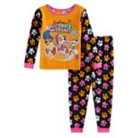 "Toddler Girl Paw Patrol ""Pup Tricks & Treats"" Rubble, Skyy & Everest Halloween Glow in the Dark Top & Pants Pajama Set"