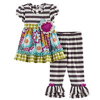 Toddler Girl Rare Editions Multi-Patterned Top & Striped Leggings Set