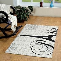 Chesapeake Paris Eiffel Tower Printed Typography Rug