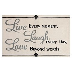 Chesapeake Paris ''Live, Laugh, Love'' Printed Typography Rug