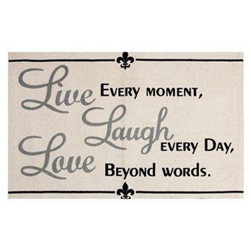 Chesapeake Paris ''Live, Laugh, Love'' Printed Typography Rug