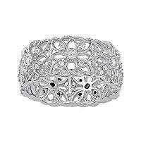 Sterling Silver 1/3 Carat T.W. Diamond Openwork Flower Ring