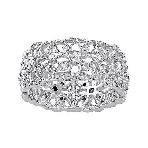 Stella Grace Sterling Silver 1/3 Carat T.W. Diamond Openwork Flower Ring