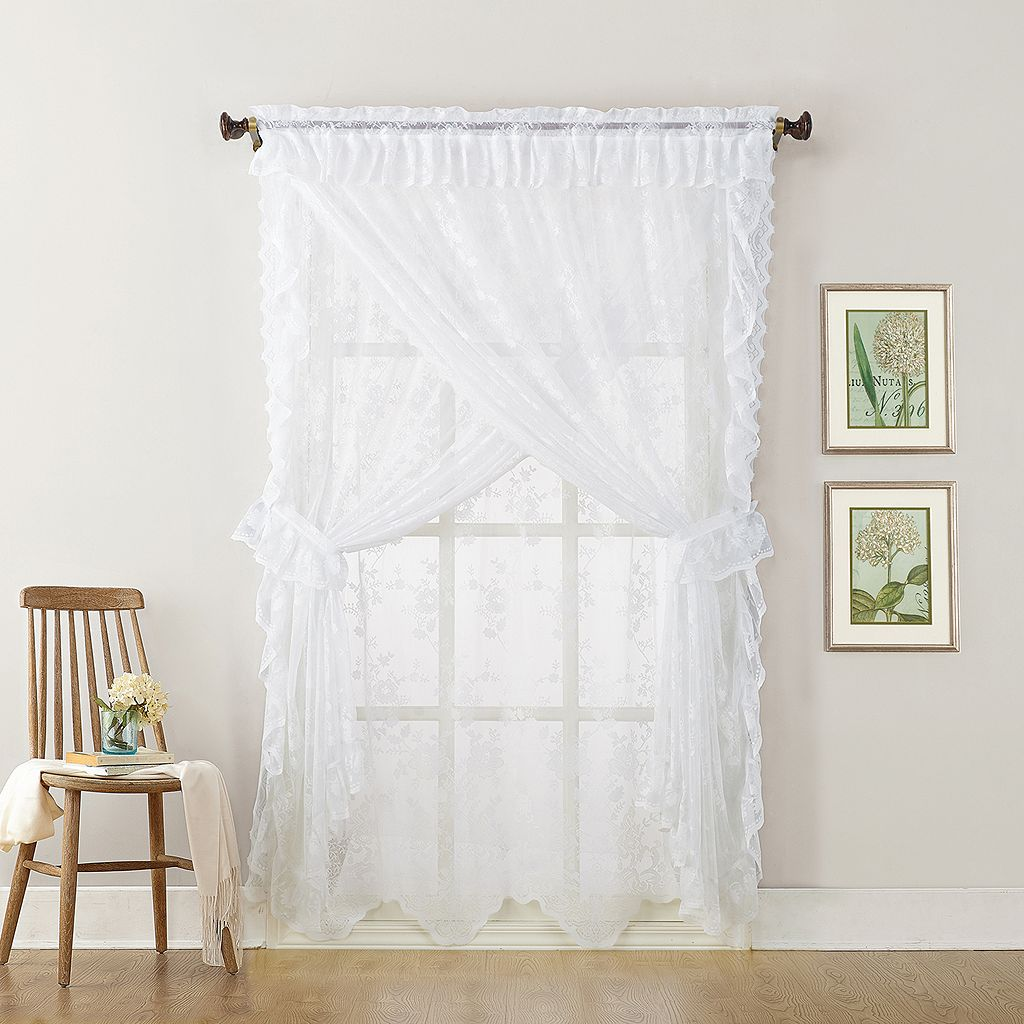 No918 Alison Ruffled Floral Lace Sheer Priscilla Curtain Set