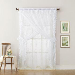 No918 Alison Ruffled Floral Lace Sheer Priscilla Window Curtain Set