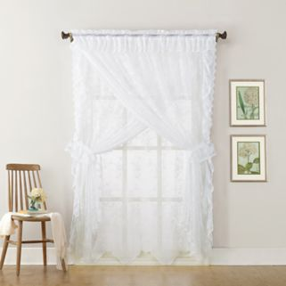 No918 Alison Ruffled Floral Lace Sheer Priscilla Curtain Set