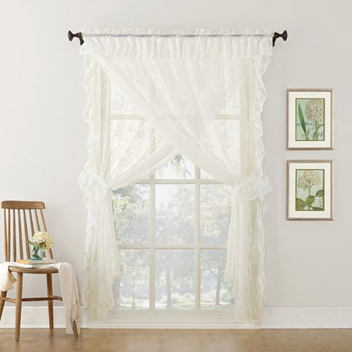 No918 Alison Ruffled Floral Lace Sheer Priscilla Window Curtain Set