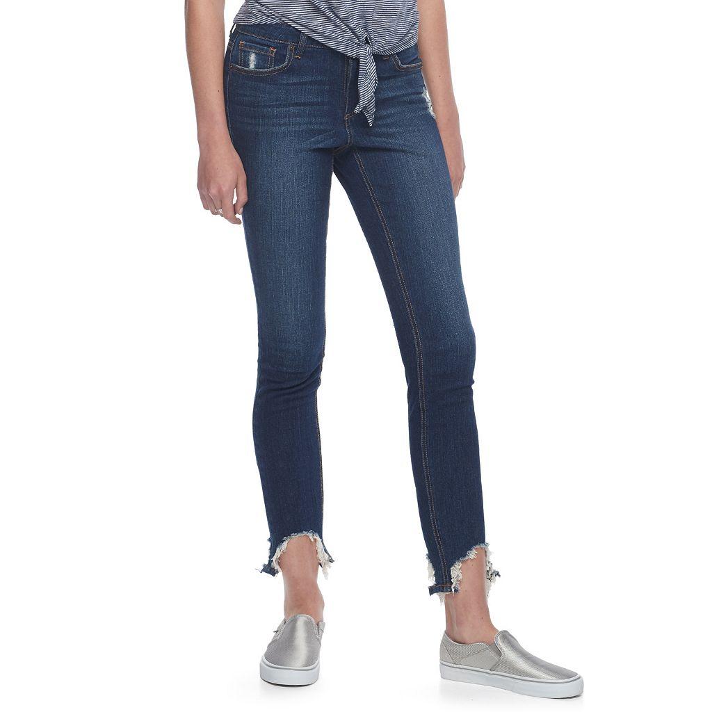 Juniors' Almost Famous Frayed Hem Skinny Jeans