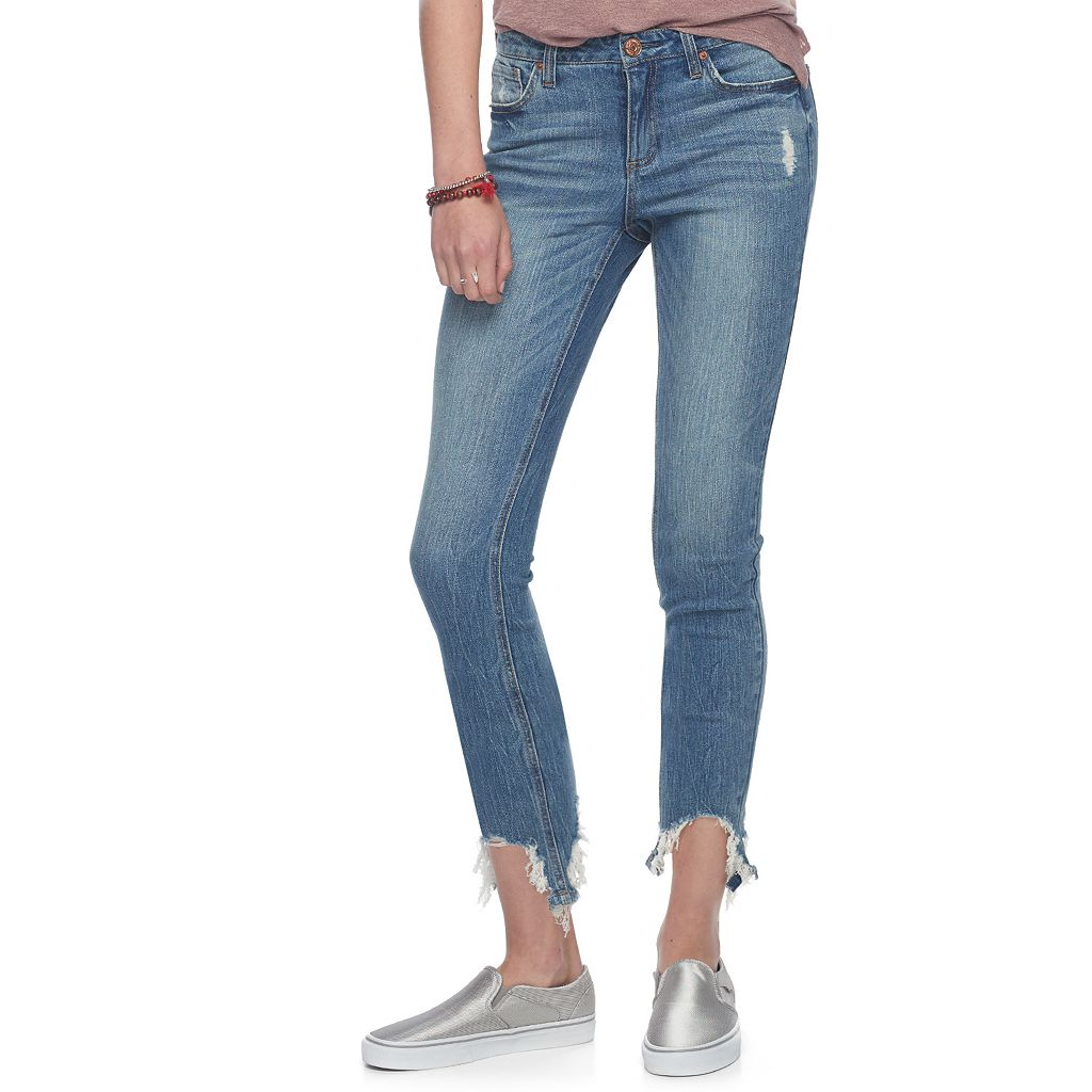 Juniors' Almost Famous Frayed Hem Skinny Jeans