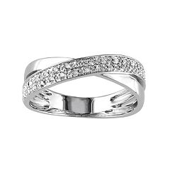 Stella Grace Sterling Silver 1/6 Carat T.W. Diamond Crisscross Ring