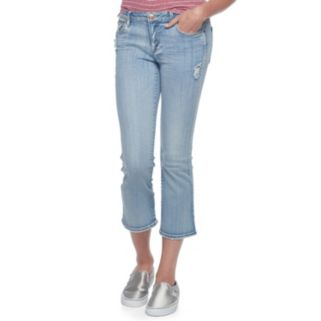 Juniors' Almost Famous Ripped Kick Crop Jeans