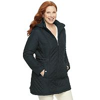 Plus Size Weathercast Hooded Quilted Walker Jacket