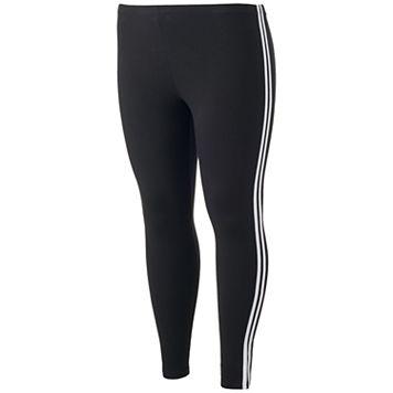 Juniors' Plus Size SO® Side Stripe Black Leggings