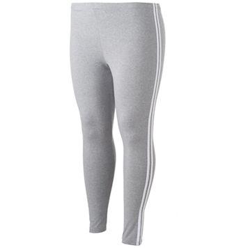 Juniors' Plus Size SO® Side Stripe Gray Leggings