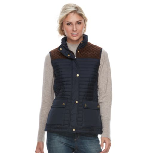 Women's Weathercast Faux-Suede Trim Quilted Vest