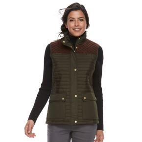 Women's Weathercast Faux-Suede Trim Quilted Vest