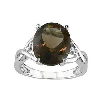 Sterling Silver Smoky Quartz & Diamond Accent Ring