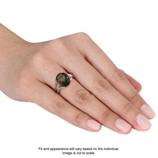 Stella Grace Sterling Silver Smoky Quartz & Diamond Accent Ring