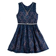 Girls 7-16 Knitworks Belted Lace Skater Dress with Necklace