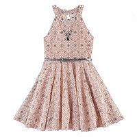 Girls 7-16 Knitworks Pattern Belted Skater Dress
