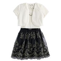 Girls 7-16 & Plus Size Knitworks Faux-Fur Bolero & Belted Textured Skater Dress with Necklace