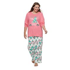 Women's Plus Jammies For Your Families Retro Car Top & Fleece Bottoms Pajama Set