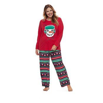 Women's Plus Jammies For Your Families Snowman Top & Fleece Bottoms Pajama Set