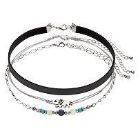 Mudd® Elephant, Beaded & Faux Leather Choker Necklace Set