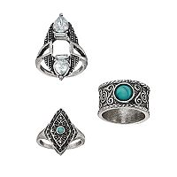 Mudd® Simulated Turquoise Antiqued Ring Set