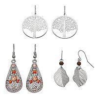 Mudd® Tree, Leaf & Teardrop Nickel Free Earring Set