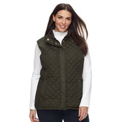 Plus Size Weathercast Faux-Fur Lined Quilted Vest
