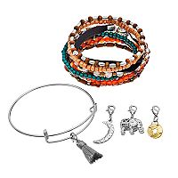 Mudd® Beaded Stretch Bracelet, Bangle Bracelet & Removable Charm Set
