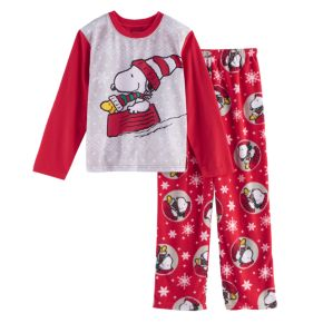 Boys 4-12 Jammies For Your Families Peanuts Snoopy & Woodstock Sledding Top & Microfleece Bottoms Pajama Set