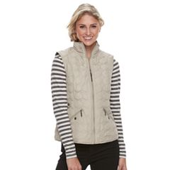 Women's Weathercast Geometric Quilted Faux-Fur Lined Vest
