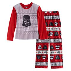 Boys 4-12 Jammies For Your Families Star Wars Darth Vader & Stormtrooper Fairisle Top & Microfleece Bottoms Pajama Set