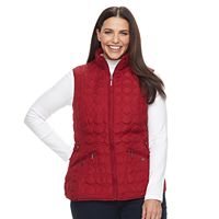 Plus Size Weathercast Geometric Quilted Faux-Fur Lined Vest