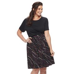 Plus Size Apt. 9® Fit & Flare Flounce Skirt
