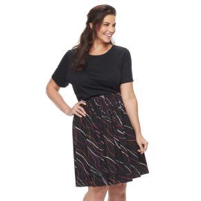 Plus Size Apt. 9® Fit & Flare Flounce Skirt