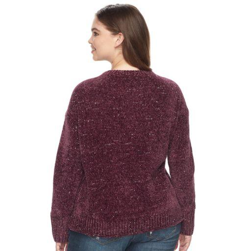 Juniors' Plus Size Mudd® Rolled Hem Chenille Sweater