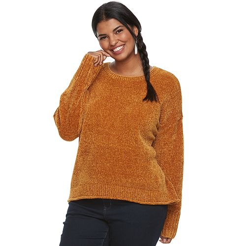 Juniors' Plus Size Mudd® Rolled Hem Chenille Sweater