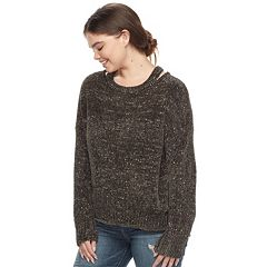 Juniors' Plus Size Mudd® Cut-Out Collar Sweater