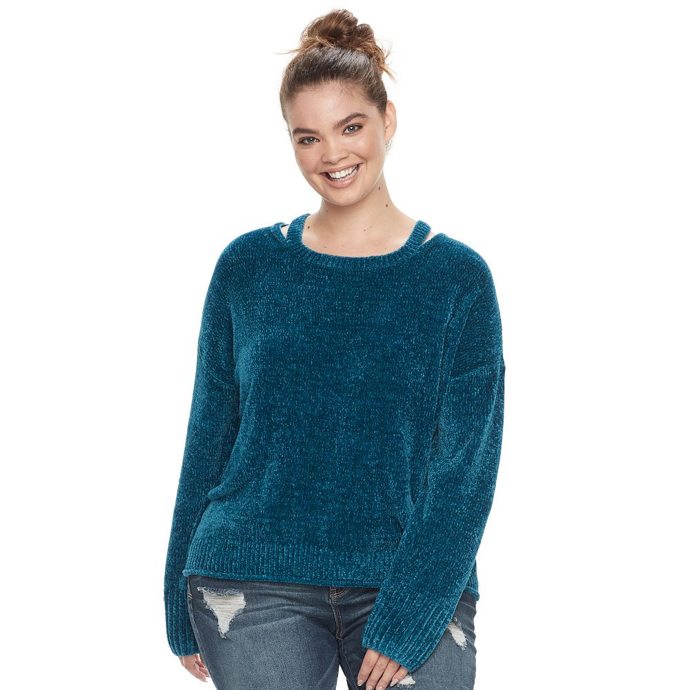 Plus Size Mudd® Cut-Out Collar Sweater