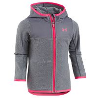 Toddler Girl Under Armour Lightweight Gray Hundo Fleece Zip-Up Hoodie
